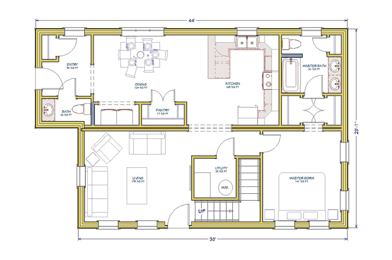 28x44-2Level-3Bed